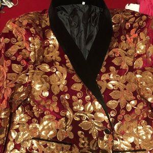 Other - Gentleman's Burgundy And Gold Velvet Tuxedo Jacket